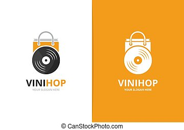 Vector vinyl and shop logo combination. Record and sale symbol or icon. Unique music album and bag logotype design template.