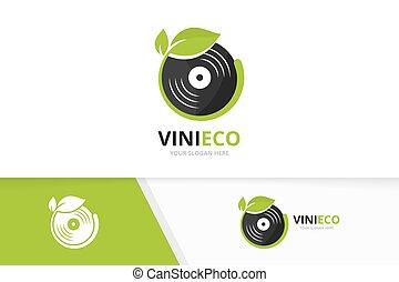 vector, vinyl, en, blad, logo, combination., registreren, en, eco, symbool, of, icon., uniek, muziek, album, en, organisch, logotype, ontwerp, template.