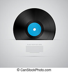 Vector Vinyl Record Disc Isolated on Grey Background