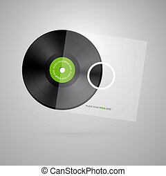 Vector Vinyl Record Disc Isolated on White Background