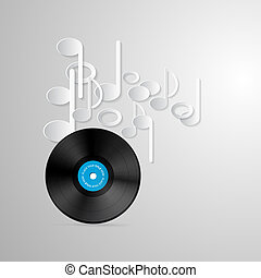 Vector Vinyl Record Discs and Paper Notes on Grey Background