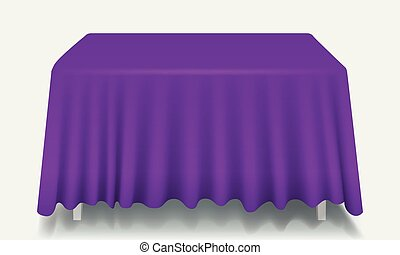 Vector violet Empty Rectangular Table with Tablecloth Isolated.