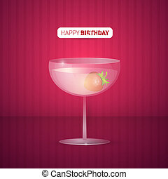 Vector Violet Happy Birthday Background With Drink