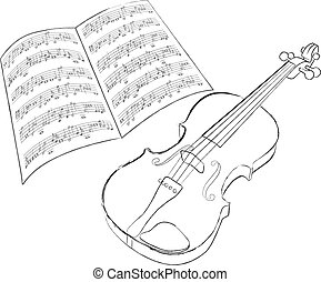 violin - vector violin sketch on white background
