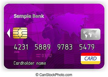vector, viooltje, kredietkaart, voorkant, overzicht., eps, 8