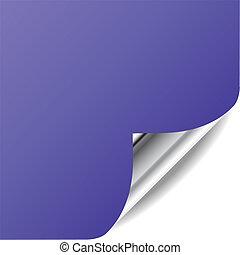 vector, viooltje, pagina, met, gekrulde, hoek, en, shadow., perfect, voor, toevoegen, tekst, design., meer, in, mijn, gallery.