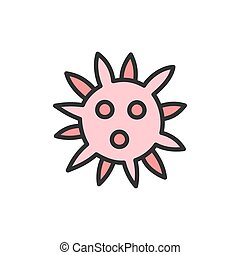 Vector virus, bacteria flat color line icon.