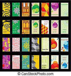vector, visita, tarjetas, con, diferente, disposiciones