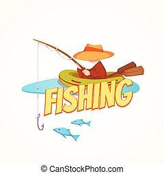 vector, visser, scheepje, illustratie