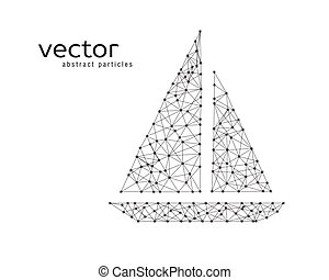 vector, visserij, illustratie, boat.