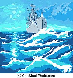 vector, vista marina, con, un, buque de guerra