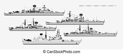 vector, vista., postwar, lado, real, plantilla, británico, destroyers., navy., illustration.