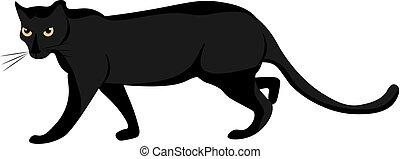 vector, visto, lado, plano de fondo, caricatura, aislado, conjunto, blanco, color, o, ilustración, pantera