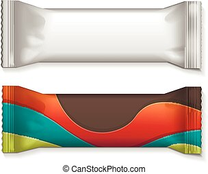 Vector visual of white or clear plain flow wrap plastic foil packet, packaging or wrapper for biscuit, wafer, crackers, sweets, chocolate bar, candy bar, snacks etc