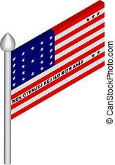 vector, vlag, flagpole, illustratie, bikini, isometric, atol