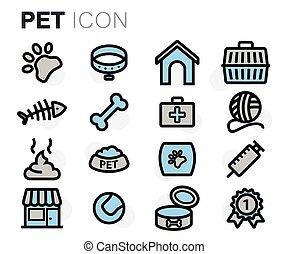 vector, vlake lijn, aanhalen, iconen, set