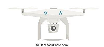 vector, vliegen, fototoestel, illustration., helikopter