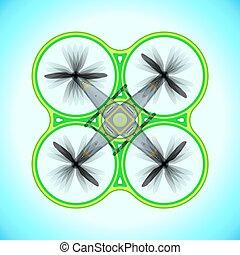 vector, vliegen, quadcopter, neuriën, illustratie