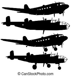 vector, vliegtuig, gevecht, ontwerpers, anders, verzameling, silhouettes., illustratie