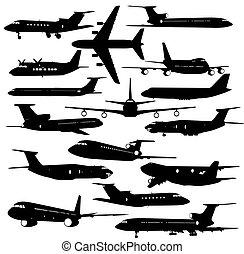 vector, vliegtuig, verzameling, anders, silhouettes., illustratie