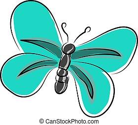 vector, vlinder, achtergrond., blauwe , illustratie, witte