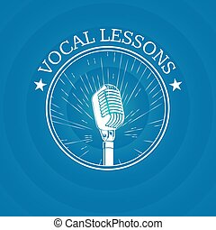 Vector vocal lessons logo with retro microphone on vintage sunburst background