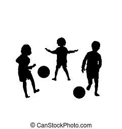 vector, voetbal, kinderen