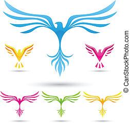 vector, vogels, iconen