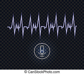 Vector Voice Recognition Neon Blue Illustration, Pulse Wave Glowing Line and Microphone.