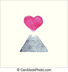 Vector Volcano Heart - Vector illustration of a Volcano...