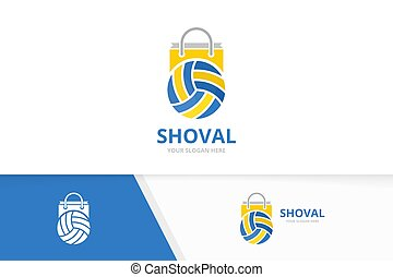 Vector volleyball and shop logo combination. Play and sale symbol or icon. Unique ball and market logotype design template.