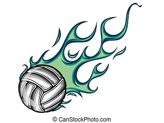 vector Volleyball Flaming Ball Cartoon illustration in white background
