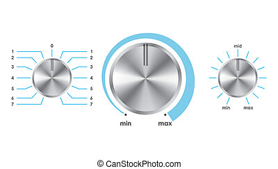 Vector volume balance knobs - Vector illustration of silver...