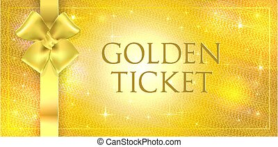 Vector volume Golden glitter background with gold silk double bow and ribbon. Gold ticket with star gloss shining with guilloche watermark. Useful for any festival, party, event, show, cinema