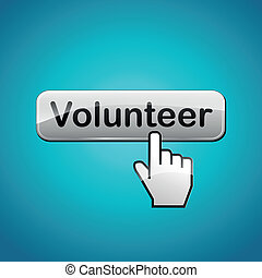 Vector volunteer button - Vector illustration of volunteer...