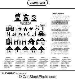 volunteer for non profit social service info graphic icon