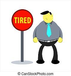vector, voorwaarde, belemmerde, ilustration, arbeider, moe