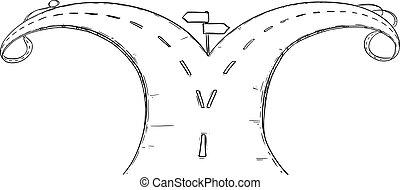 vector, vork, tekening, illustratie, of, kruispunt, kiezen, straat, richting, conceptueel, beslissen, over, lot