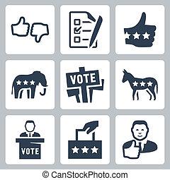 vector, votación, y, política, iconos, conjunto