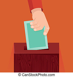 Vector voting concept in flat style - hand putting voting...