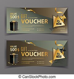 Vector voucher template. Universal flyer for business. Dark green, brown, gold design elements. Gift voucher value 500 dollars for department stores, business. Abstract background
