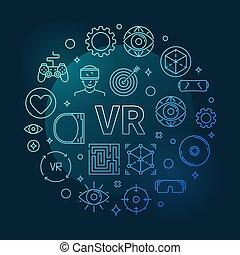 Vector VR concept round blue outline illustration