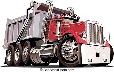 vector, vrachtwagen, spotprent, stortplaats