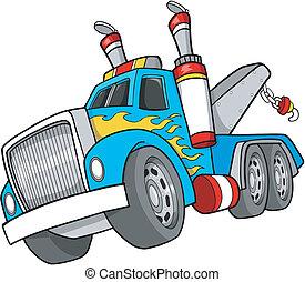 vector, vrachtwagen, trekken, illustratie