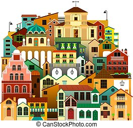 vector, vrijstaand, kleurrijke, townhouses., stedelijke , architectuur, illustration.