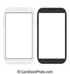 vector, vrijstaand, smartphones, witte , moderne