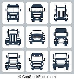 vector, vrijstaand, vrachtwagens, iconen, set:, vooraanzicht
