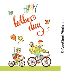 vector, vrolijke , vader, s, dag, lettering., hand, getrokken, calligraphy., gre