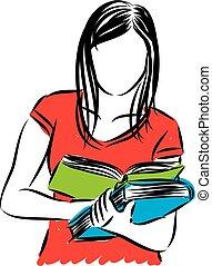 vector, vrouw, boek, illustratie, lezende