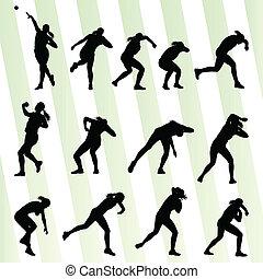 vector, vrouw, grit, atletisch, concept, achtergrond, zetten